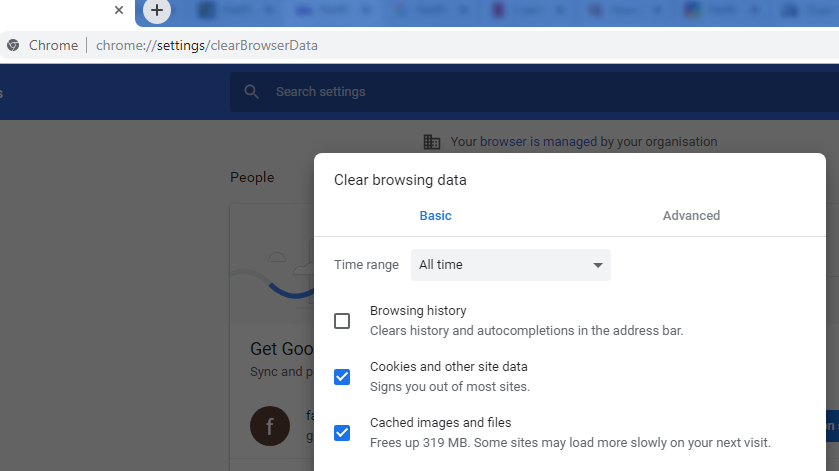 Clear the caches and Cookies in the browsing history